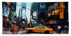 Times Square Taxi- Art By Linda Woods Beach Towel by Linda Woods
