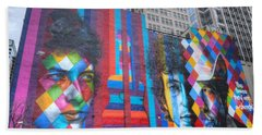 Times They Are A Changing Giant Bob Dylan Mural Minneapolis Cityscape Beach Sheet by Wayne Moran
