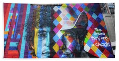 Times They Are A Changing Giant Bob Dylan Mural Minneapolis Getting Older Beach Sheet by Wayne Moran