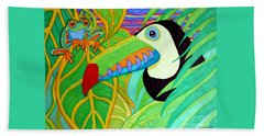 Toucan And Red Eyed Tree Frog Beach Towel by Nick Gustafson