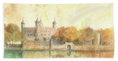 Tower Of London Watercolor Beach Towel by Juan Bosco