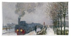 Train In The Snow Or The Locomotive Beach Sheet by Claude Monet