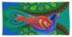 Tree Sparrow Beach Towel by Jane Tattersfield