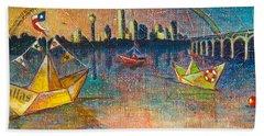 Trinity River Origami Beach Towel by Tanya Joiner Slate