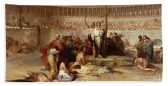 Triumph Of Faith    Christian Martyrs In The Time Of Nero Beach Towel by Eugene Romain Thirion
