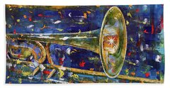 Trombone Beach Towel by Michael Creese