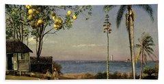 Tropical Scene Beach Towel by Albert Bierstadt