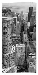Trump Tower And John Hancock Aerial Black And White Beach Towel by Adam Romanowicz
