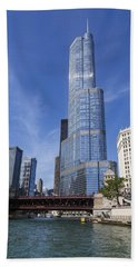 Trump Tower Chicago Beach Towel by Adam Romanowicz