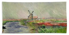 Tulip Field In Holland Beach Sheet by Claude Monet