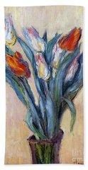 Tulips Beach Sheet by Claude Monet
