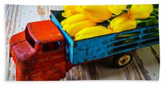 Tulips In Toy Truck Beach Sheet by Garry Gay