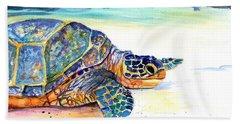 Turtle At Poipu Beach 2 Beach Towel by Marionette Taboniar
