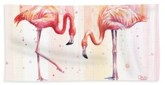 Two Flamingos Watercolor Beach Towel by Olga Shvartsur