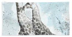 Two Giraffes- Art By Linda Woods Beach Sheet by Linda Woods