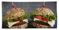 Two Gourmet Hamburgers Beach Towel by Elena Elisseeva