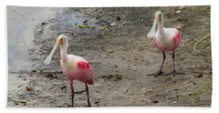 Two Roseate Spoonbills 2 Beach Towel by Carol Groenen