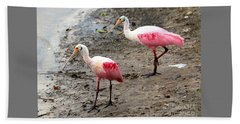 Two Roseate Spoonbills Beach Sheet by Carol Groenen