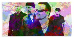 U2 Band Portrait Paint Splatters Pop Art Beach Towel by Design Turnpike