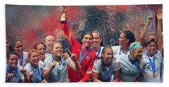 Us Women's Soccer Beach Towel by Semih Yurdabak