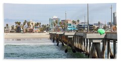 Venice Beach From The Pier Beach Sheet by Ana V Ramirez