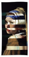 Vermeer's Girl With A Pearl Earring And Grace Kelly Beach Towel by Luigi Tarini