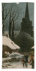 Victorian Christmas Scene With Band Playing In The Snow Beach Towel by John Brandard