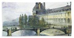 View Of The Pavillon De Flore Of The Louvre Beach Towel by Francois-Marius Granet