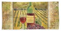 Vineyard Pinot Noir Grapes N Wine - Batik Style Beach Towel by Audrey Jeanne Roberts