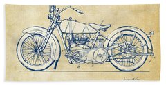 Vintage Harley-davidson Motorcycle 1928 Patent Artwork Beach Towel by Nikki Smith