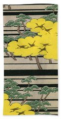 Vintage Japanese Illustration Of An Abstract Forest Landscape With Flying Cranes Beach Towel by Japanese School