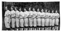 Vintage Photo Of Women's Baseball Team Beach Sheet by American School