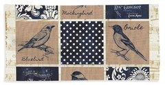 Vintage Songbird Patch 2 Beach Sheet by Debbie DeWitt