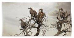 Vultures In A Dead Tree.  Beach Towel by Jane Rix