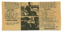 Wanted Poster - Bonnie And Clyde 1934 Beach Sheet by F B I