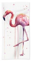 Watercolor Flamingo Beach Sheet by Olga Shvartsur