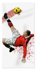 Wayne Rooney Beach Towel by Armaan Sandhu