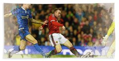 Wayne Rooney Of Manchester United Scores Beach Towel by Don Kuing