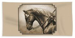 Western Horse Painting In Sepia Beach Towel by Crista Forest