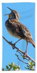 Western Meadowlark Singing Beach Towel by Angela Koehler