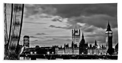 Westminster Black And White Beach Towel by Dawn OConnor