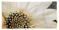 White And Gold Daisy Beach Towel by Mindy Sommers