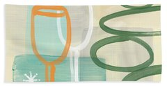 Wine For Two Beach Towel by Linda Woods