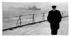 Winston Churchill At Sea Beach Sheet by War Is Hell Store