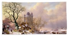 Winter Landscape With Castle Beach Sheet by Frederick Marianus Kruseman