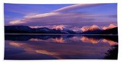 Winter Sunset On Lake Mcdonald-glacier National Park Beach Towel by Larry Kjorvestad