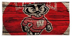 Wisconsin Badgers Barn Door Beach Towel by Dan Sproul