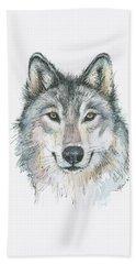 Wolf Beach Towel by Olga Shvartsur