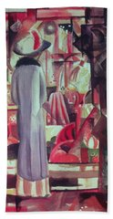Woman In Front Of A Large Illuminated Window Beach Towel by August Macke