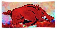 Woo Pig Sooie 3 Beach Towel by Belinda Nagy